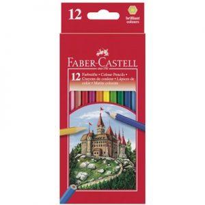Цветни моливи 12 цв., Faber Castell замък,с острилка