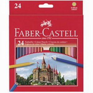 Цветни моливи 24 цв., Faber Castell замък,с острилка