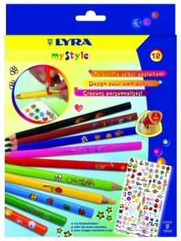 Цветни моливи - комплект Lyra My style,12 цвята със стикери