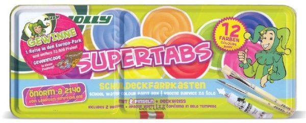 Aкварелни бои JOLLY SUPERTABS , метална кутия, 12 цвята