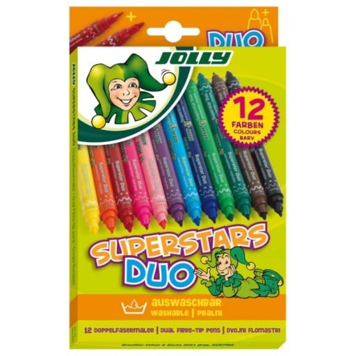Флумастери Jolly Superstars Duo- двувърхи 12 цв