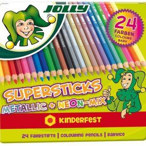 Цветни моливи Jolly Kinderfest mix 24цв /класик,неон,металик