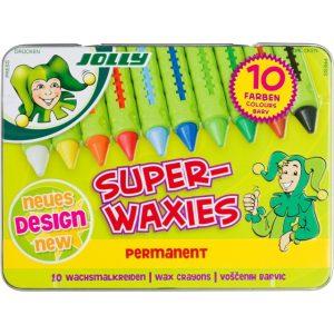 Восъчни пастели JOLLY SUPERWAXIES CLASSIC, метална кутия, 10 цвята