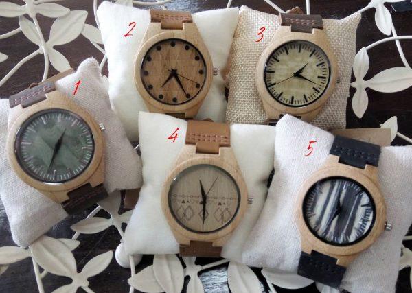 Часовник дървен ръчен с кожена каишка